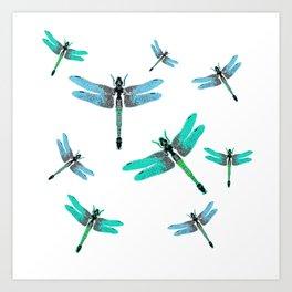 """BLUE DRAGONFLIES """"SPRING SONG"""" ART Art Print"""