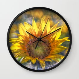 Sunflower with Lens Flare of the Suns Rays Wall Clock