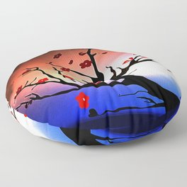 Japanese Maple Under Night Sky With Moon Floor Pillow