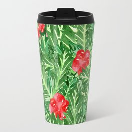 Holly Jolly Christmas Leaves & Berries (Large Pattern) Travel Mug