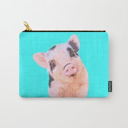Baby Pig Turquoise Background Carry-All Pouch