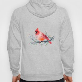 Watercolor red cardinal on berry branch Hoody