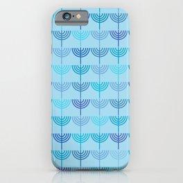 Hanukkah Chanukah Menorah Chanukkiah Pattern in Blue and Turquoise  iPhone Case
