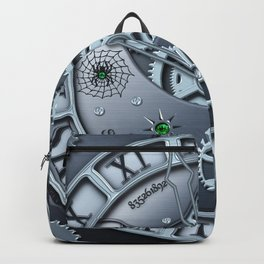 Steampunk clock silver Backpack