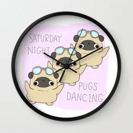 """PUG """"SATURDAY NIGHT PUGS DANCING"""" Wall Clock"""