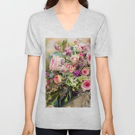 Fantastic Lovely Corsage Of Various Flowers Zoom UHD Unisex V-Neck