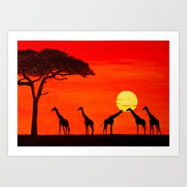 Herd of giraffes with sunset Art Print