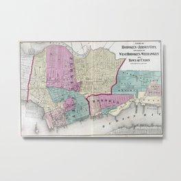 Vintage Map of Jersey City, Hoboken & Weehawken NJ Metal Print