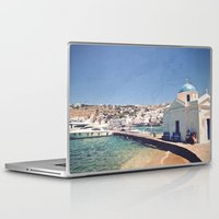 greece Laptop & iPad Skins featuring Hello, Greece by ZBOY