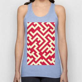 Cream Yellow and Crimson Red Diagonal Labyrinth Unisex Tank Top