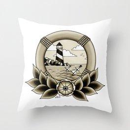 Ship Wreck Lighthouse Tattoo Throw Pillow