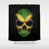 jamaica Shower Curtains featuring Dark Skull with Flag of Jamaica by Jeff Bartels
