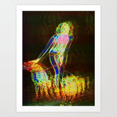 Lady with Leopards Art Print