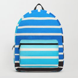 Cerulean Blue Minimalist Abstract 15 Stripes Watercolor Gradient Backpack