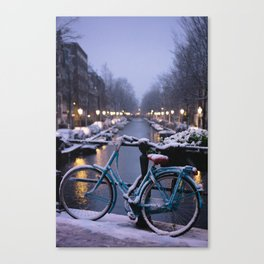 Amsterdam Bike in the Snow Canvas Print