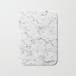 Marble White, Black and Gray Texture Abstract Photography Design Bath Mat