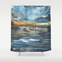 Boat on Blue Seas Shower Curtain