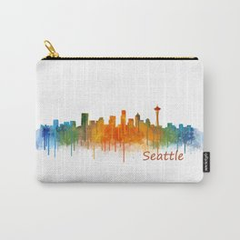 Seattle Washington City Watercolor Skyline Hq v2 Carry-All Pouch