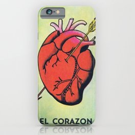 Vintage El Corazon Tarot Card Heart Love Artwork, Design For Prints, Posters, Bags, Tshirts, Men, Wo iPhone Case