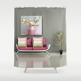 Coffee, Tea or Flowers Vignette Shower Curtain