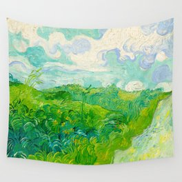 Field with Green Wheat 1890 Oil Painting By Vincent Van Gogh Wall Tapestry