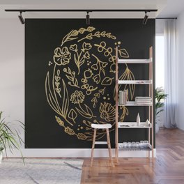 Golden Autumnal Equinox Oval Shaped Floral Illustration Wall Mural