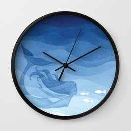 Mermaid, watercolor, blue, fish Wall Clock