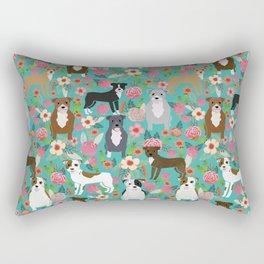 Pitbull mixed coat colors dog breed lover pibbles pitbulls florals gifts Rectangular Pillow