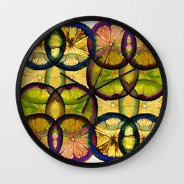 lemons pattern Wall Clock