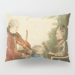 The Mozart family on tour: Leopold, Wolfgang, and Nannerl. Watercolor by Carmontelle, ca. 1763 Pillow Sham