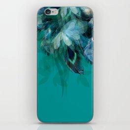 DREAMY FEATHERS & LEAVES - Deep Cyan iPhone Skin