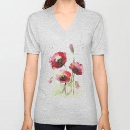 Watercolor flowers of poppy Unisex V-Neck