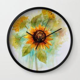 Sunflower - Watercolor Wall Clock