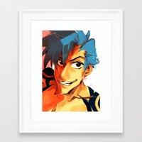 gurren lagann Framed Art Prints featuring Kamina - Gurren Lagann by kirza