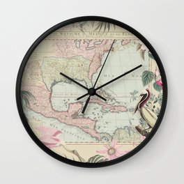 Tropical Caribbean Map Illustration With Pelican And Exotic Flowers Wall Clock