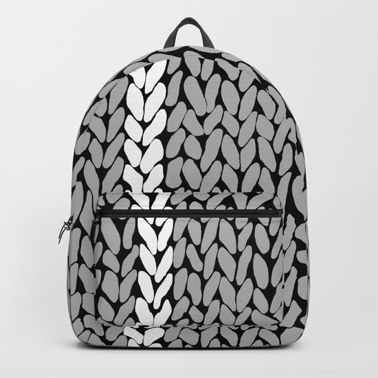 Grey Knit With White Stripe Backpack