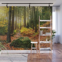 Path Through The Trees - Landscape Nature Photography Wall Mural
