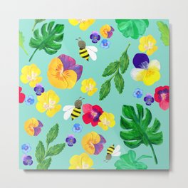 Pansy floral and the bees Metal Print