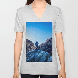 Boys Adventure | Rustic Camping Kid Red Rocks Climbing Explorer Blue Landscape Nursery Photograph Unisex V-Neck
