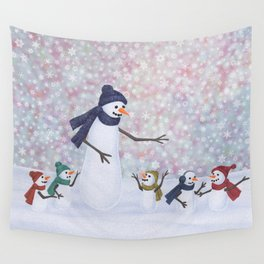 Mrs. Snowman and the kiddos Wall Tapestry