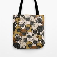 square Tote Bags featuring Social Pugz by Huebucket