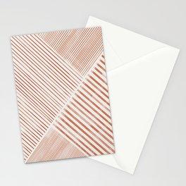 Blush Pink Stripes, Geometric Art Stationery Cards