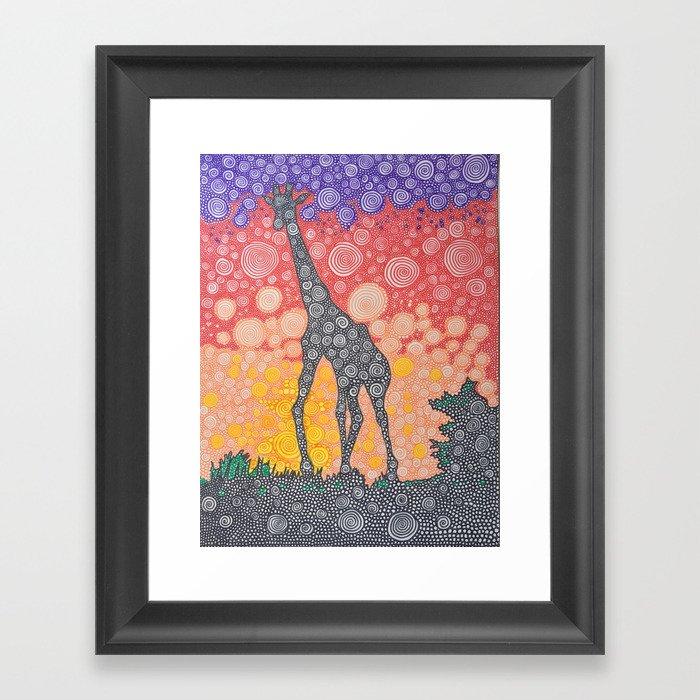 Giraffe Sunset Framed Art Print