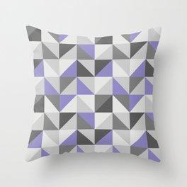 Purple & gray modern triangles pattern Throw Pillow
