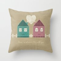 home sweet home Throw Pillows featuring Home by Teo Zirinis