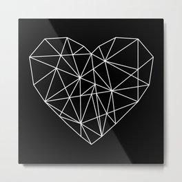 Geometric Abstract - Heart (White) Metal Print