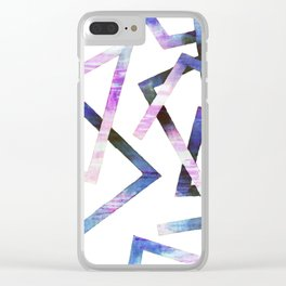 Modern Geometric Lines Shape Corners Clear iPhone Case