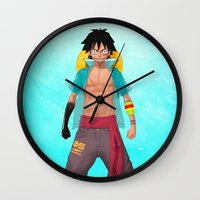 luffy Wall Clocks featuring Luffy by Yvan Quinet