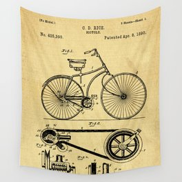 Bicyole Support Patent Drawing From 1890 Wall Tapestry