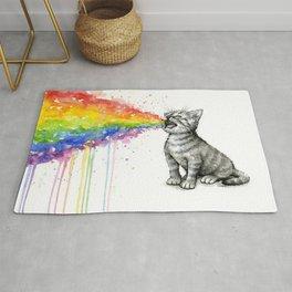 Kitten Puking Rainbow Rug